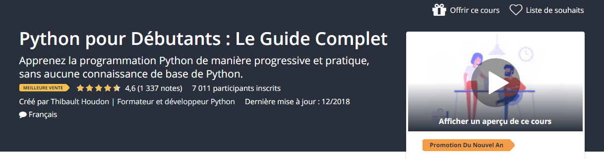 udemy formation pyton